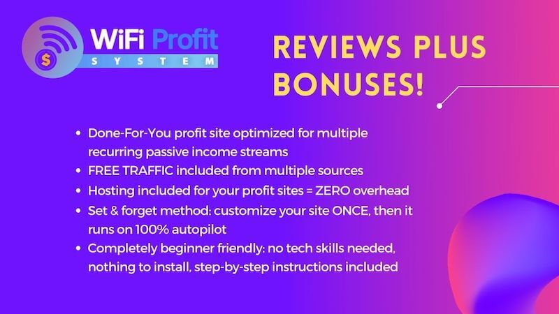 WiFi Profit System ready-made automated profit site to generate income from recurring affiliate offers, high ticket webinar, build email list