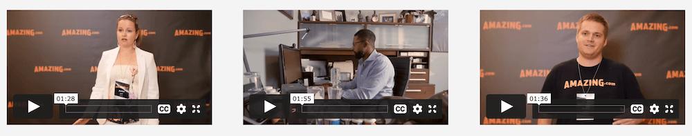 Amazing Selling Machine - Testimonial Videos Thumbnails